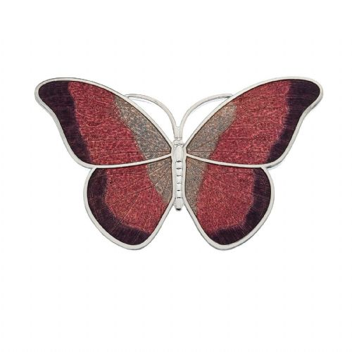 Large Red Butterfly Brooch Silver Plated Brand New Gift Packaging